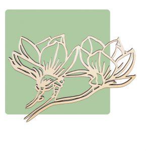 Houten wanddecoratie magnolia